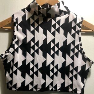 Mock neck crop top // geometric print